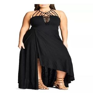 City Chic Plait Plus Size Maxi Dress Black 24